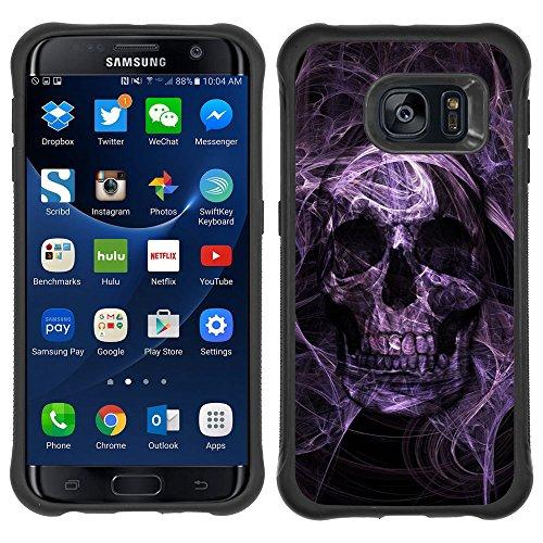 SAMSUNG GALAXY S7 EDGE Robusto Custodia - Purple Black Night Electric Skull