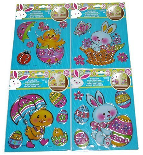 Easter Window Decoration Bunny and Chick Decals Bundle: 4 Packs, 19 Decals Total - 1