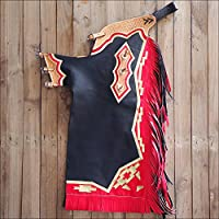 Hilason Bull Riding Smooth Leather Pro Rodeo Western Chaps Black from HILASON