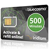 BlueCosmo Iridium 500 Min Prepaid Global SIM Card - Satellite Phone Airtime – 1 Year Expiry - No Activation Fee – No Monthly Fee - Refillable - Rollover - Easy 24/7 Online Activation and Refills (Color: 5: 500 Minute / 1 Year)
