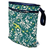 Planet Wise Wet/Dry Diaper Bag, Teal Birds