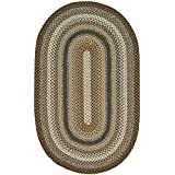 Safavieh Braided Collection BRD313A Hand-woven Brown and Multi Oval Area Rug, 3 feet by 5 feet (3' x 5'Oval)