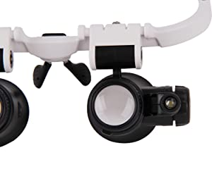 Magnifying Glasses 8X 15X 23X Magnifier LED Headband Glass Eye Magnifying Repair Tool Watchmaking Coin Stamp Currency Book Errors Jewelry Necklace Magnifier Glasses Beading Biology Loupe Microscope