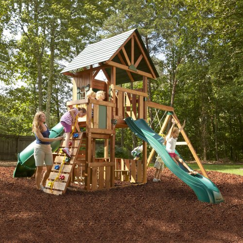 Wood swing set kit outdoor custom complete kids wooden build swingset playground ebay - How to build an outdoor wooden playground ...