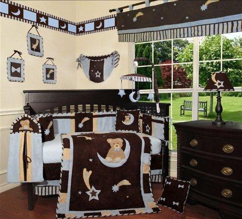 Custom Baby Boy Boutique - Blue Bear and Moon 13 PCS Crib Bedding