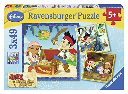 Ravensburger Jake and the Neverland Pirates: Jake's Pirate World Puzzles in a Box (3 x 49 Piece) - 1