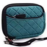 On the go Travel Camera Bag Soft Sleeve Case Pouch for Disney Princess 2.1-Megapixel Digital - Emerald Green. Bonus Ekatomi Screen Cleaner Sticker