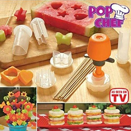Pop Chef Food Decorator Kitchen Tool Kit (10-Piece) W/ Recipe Book, Skewers & Shapes (Circle, Heart, Flower, Butterflly, Sun, Star) Healthy Snacks, Cake Decorating, Baking, Party Treats & More - Make Mouth Watering Edible Arrangements - Fun School Lunches