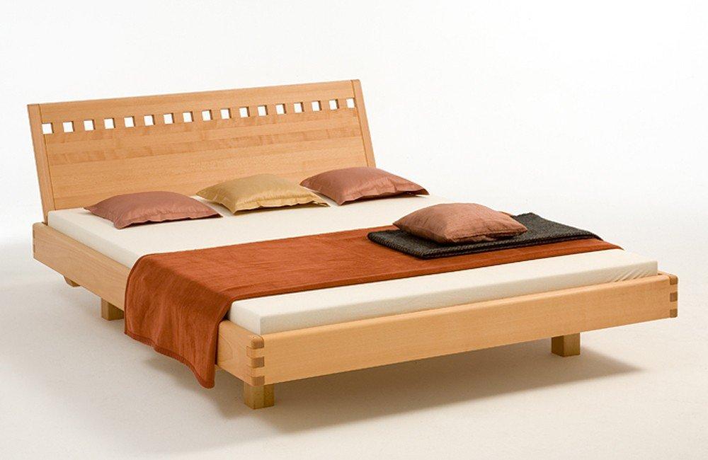 Massivholzbett VINCENZA - metallfreies Designerbett - Buche massiv, Größe:140x200cm