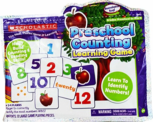 Scholastic Preschool to Pre-K Counting Learning Game Resealable Bag 72 Large Game Playing Pieces