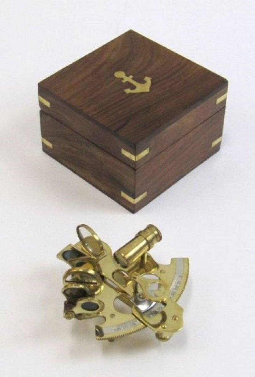 Solid Brass Small Sextant W/ Wooden Box - 4 - Nautical Navigation Collection kimxin high end wooden box hinge zinc alloy plating products jewelry box hinges equipped with screw exempt postage w 130