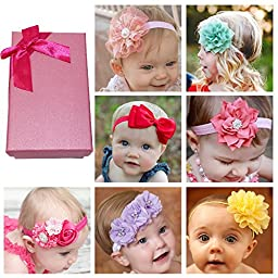 Elesa Miracle Hair Accessories Sweet Baby Girl\'s Gift Box with Chiffon Lace Hair Bow Flower Headband (7pc different style headband)