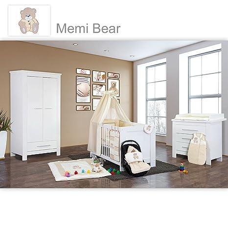 Babyzimmer Enni in weiss 21 tlg. mit 2 turigem Kl. + Textilien Memi, Beige