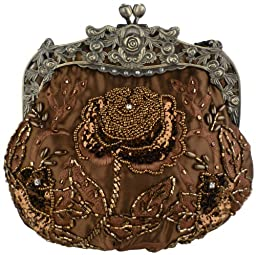 MG Collection Vintage Style Hand Beaded Evening Purse Bag, Brown, One Size