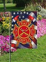 Patriotic Firefighter Garden Size Decorative Outdoor Flag by Custom Decor