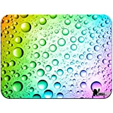 Rainbow Multi Coloured Water Droplets Premium Quality Thick Rubber Mouse Mat Pad Soft Comfort Feel Finish
