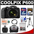 Nikon Coolpix P600 Wi-Fi Digital Camera with 32GB Card + Case + Tripod + HDMI Cable + Accessory Kit
