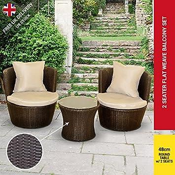 BillyOh Rosario Circular Balcony Set - 2 Seat Rattan Set in Dark Brown with Cushions