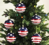 """""""Stars & Stripes"""" Shatterproof 3.15"""" (80mm) Christmas Ball Ornaments - Set of 6 with Storage Box"""
