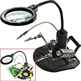 AORAEM 2.5X(6D)4X(12D)LED Lamp Helping Hands Magnifier Station,Magnifying Glass Stand with Clamp and Alligator Clips for Work and Hobby