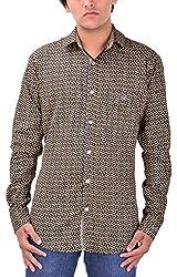 Kriva Enterprise Men's Casual Shirt (Kriva1_XL, Brown, XL)