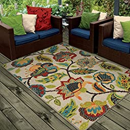 Orian Rugs Indoor/ Outdoor Floral Ethridge White Area Rug (5\'1\