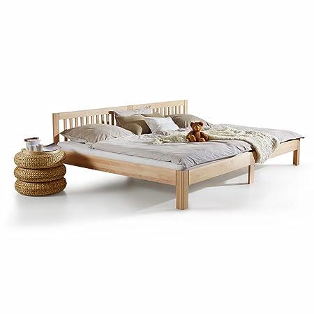 Ecolignum | Familienbett Como (#340280) | 280x200 cm. | Massivholzbett Erle Vollholz | Natur (unbehandelte Oberfläche) | Super-Size Bett