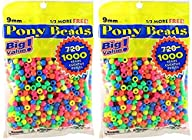 Darice Value Pack Pony Bead, 9mm, Neo…