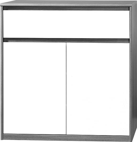 CS Schmalmöbel 75.012.074/23 Grifflose Kommode Soft Plus Smart Typ 23, 45 x 106 x 110 cm, silbereiche/weiß