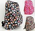 Girls Womens Love Hearts School College Travel Backpack Rucksack (Pink/Brown/Black)