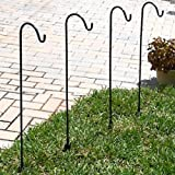 Shepherd's Hooks Solar Light Garden Stakes, Set of 4 - BEST Lawn Stakes for Décor - Hang Mason Jars - Outdoor Decoration - Perfect for Backyards, Weddings, and more!