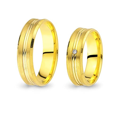 2 Wedding Rings / Friendship Rings Gold 585 Yellow Gold with Brilliant CC0225852