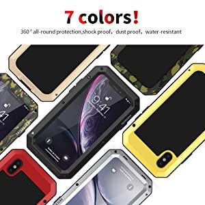 iPhone Xs Max Case 6.5 Inch Built-in Screen Protector LIGHTDESIRE Full Body Shockproof Silicone Water Resistant Heavy Duty Military Aluminum Alloy Cover Silver
