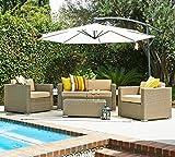 5 Pcs Patio Wicker Sofa Set with Cantilever Umbrella (Light Brown)