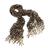 Black and Gold Sequin Net Look Tassel Scarf