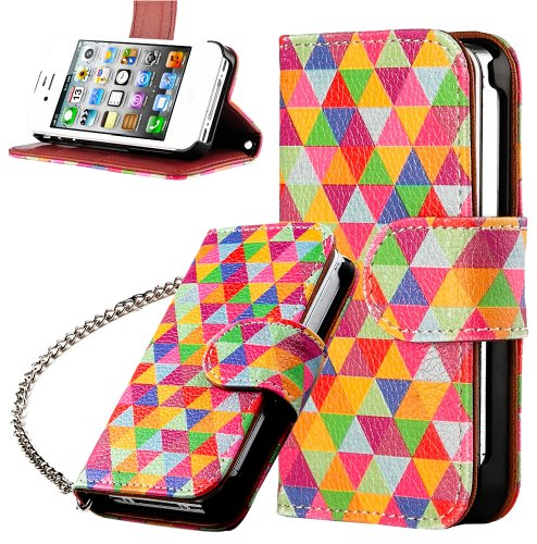 Mylife (Tm) Colorful Triangle Design - Textured Koskin Faux Leather (Lanyard Strap + Card And Id Holder + Magnetic Detachable Closing) Slim Wallet For Iphone 4/4S (4G) 4Th Generation Touch Phone (External Rugged Synthetic Leather With Magnetic Clip + Inte