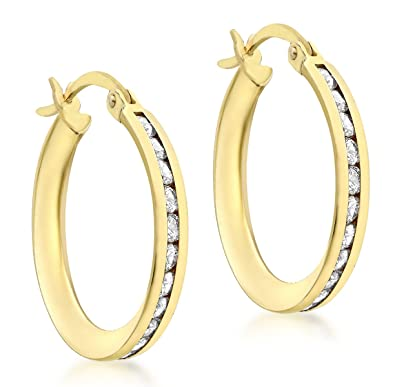 Carissima Gold 9ct Yellow Gold 20mm Cubic Zirconia Creole Earrings