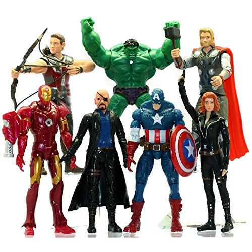 7 PCS The Avengers Hulk+Captain America+Black Widow+Iron Man+Thor Figure SJS