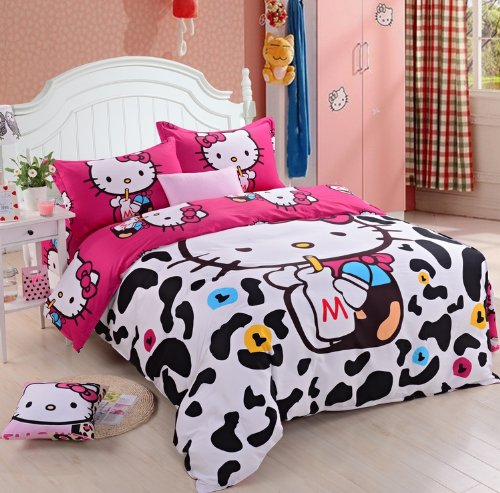 Lt Queen King Size 100% Cotton 4-Pieces White And Black Cow Milk Red Hello Kitty Prints Girls Princess Character Cartoon Kids Gift Bedding Duvet Cover Set/Bed Linens/Bed Sheet Sets/Bedclothes/Bedding Sets/Bed Sets/Bed Covers/Bedroom Sets/5-Pieces Comforte front-994222