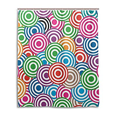 "SUABO Polyester Waterproof Fabric Shower Curtain Decorative Bathroom Curtain with 12 Hooks 60""(w) x 72""(h) Inch, Colorful Circles Pattern"