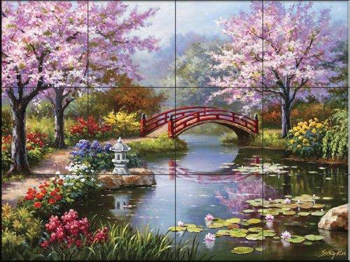 Japanese Garden by Sung Kim - Kitchen Backsplash / Bathroom wall Tile Mural