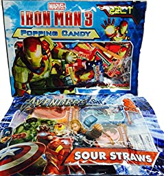 Easter Basket Easter Candy! Marvel Super Hero Candy! Avengers Sour Straws and Iron Man Popping Candy! 2-pc