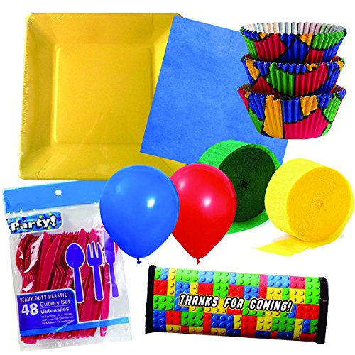 Building Blocks Theme Birthday Party Set For 16 Guests - Plates, Napkins, Cutlery, Balloons, Streamers, Cupcake Cups And Chocolate Bar Wraps