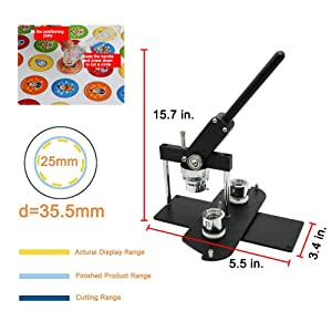 ChiButtons Button Maker Kit 25mm (1) Badge Press Machine-B400 + 25mm Round Die Moulds + 500 Set Button Components + Adjustable Circle Cutter (Black-New) (Color: Black-new)