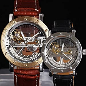 Special Design Transparent Dial Diamond Inlaid Fan-shaped Flywheel Automatic Mechanical Watch