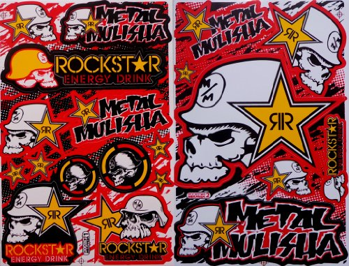 2 Rockstar Energy Drink Metal Mulisha Yamaha Kawasaki ATV Helmet Motorcycle Motocross Decal Racing Sticker (Rockstar Energy Drink Motocross compare prices)