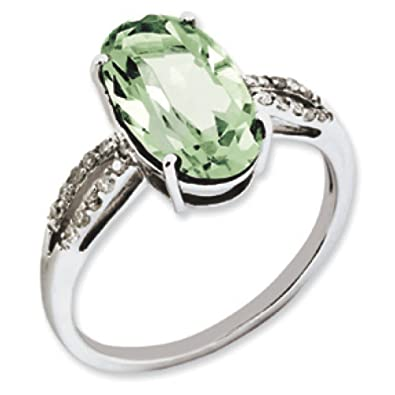 Sterling Silver Green Quartz and Rough Diamond Ring - Ring Size Options Range: J to T