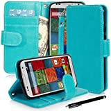 Moto X (2nd Gen.) Case, E LV Motorola Moto X+1 Flip Case Cover - Deluxe PU Leather Flip Wallet Case Cover For...