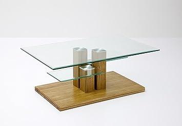 Couchtisch, Beistelltisch, Glas, Eiche / Asteiche massiv, mit Ablage, L= 110 cm