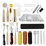 60 Pcs Leather Craft Hand Tools Kit,Leather Kit for Hand Sewing Stitching, Stamping Set, Saddle Making, Swivel Knife, Groover, Prong Punch, Leather Tools for DIY Leathercraft Carving Sewing Projects (Color: 60PCS)